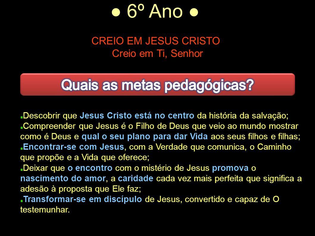 ● 6º Ano ● CREIO EM JESUS CRISTO Creio em Ti, Senhor Descobrir que Jesus Cristo está no centro da história da salvação; Compreender que Jesus é o Filh