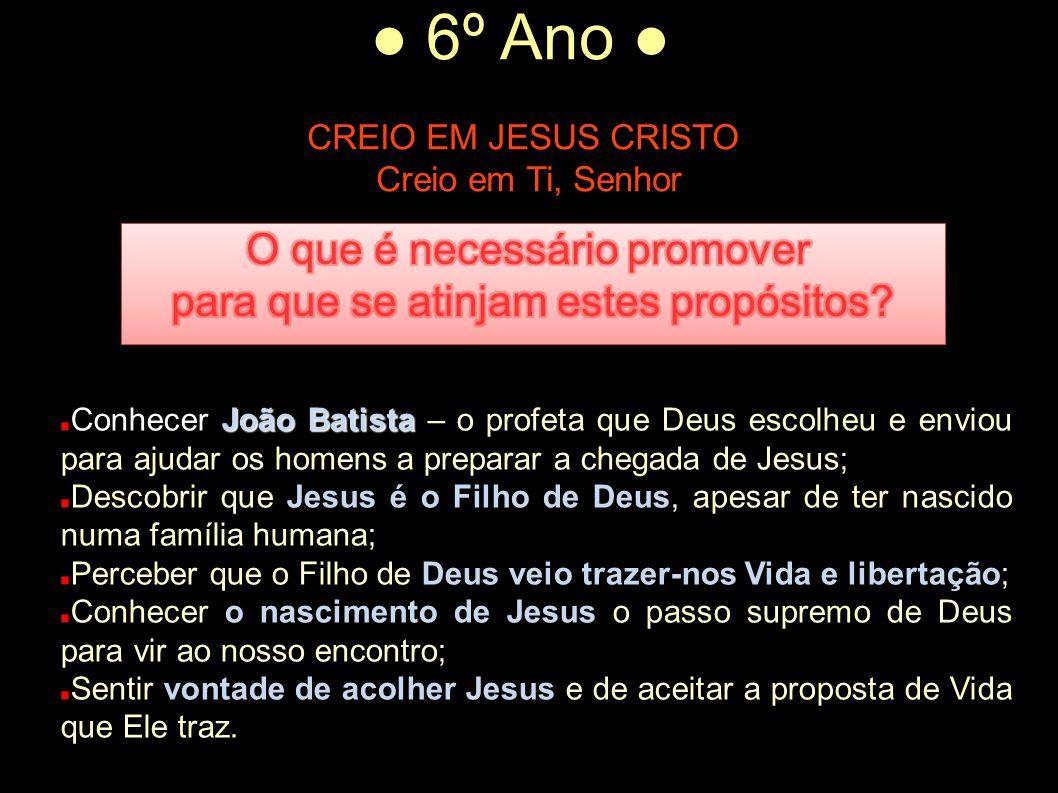 ● 6º Ano ● CREIO EM JESUS CRISTO Creio em Ti, Senhor João Batista Conhecer João Batista – o profeta que Deus escolheu e enviou para ajudar os homens a