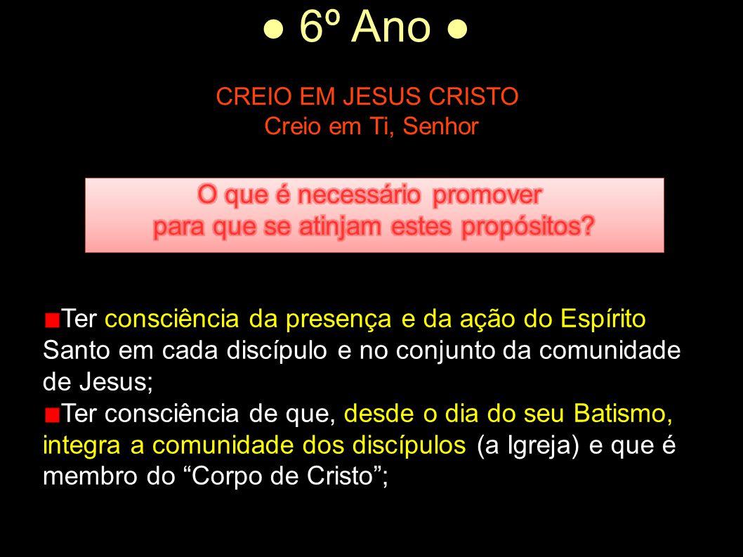 ● 6º Ano ● CREIO EM JESUS CRISTO Creio em Ti, Senhor Ter consciência da presença e da ação do Espírito Santo em cada discípulo e no conjunto da comuni
