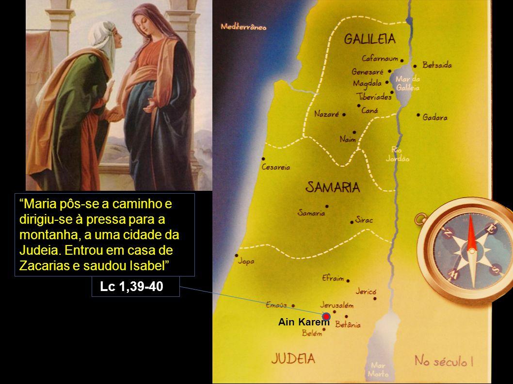 """""""Maria pôs-se a caminho e dirigiu-se à pressa para a montanha, a uma cidade da Judeia. Entrou em casa de Zacarias e saudou Isabel"""" Lc 1,39-40 Ain Kare"""