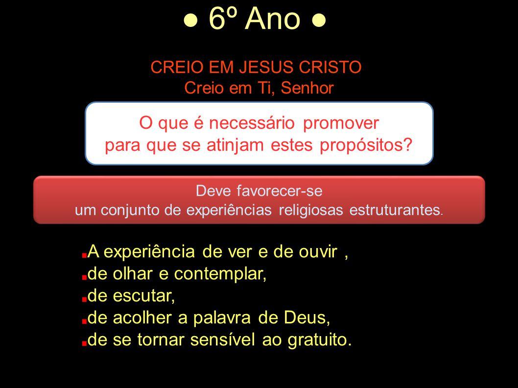 ● 6º Ano ● CREIO EM JESUS CRISTO Creio em Ti, Senhor A experiência de ver e de ouvir, de olhar e contemplar, de escutar, de acolher a palavra de Deus,