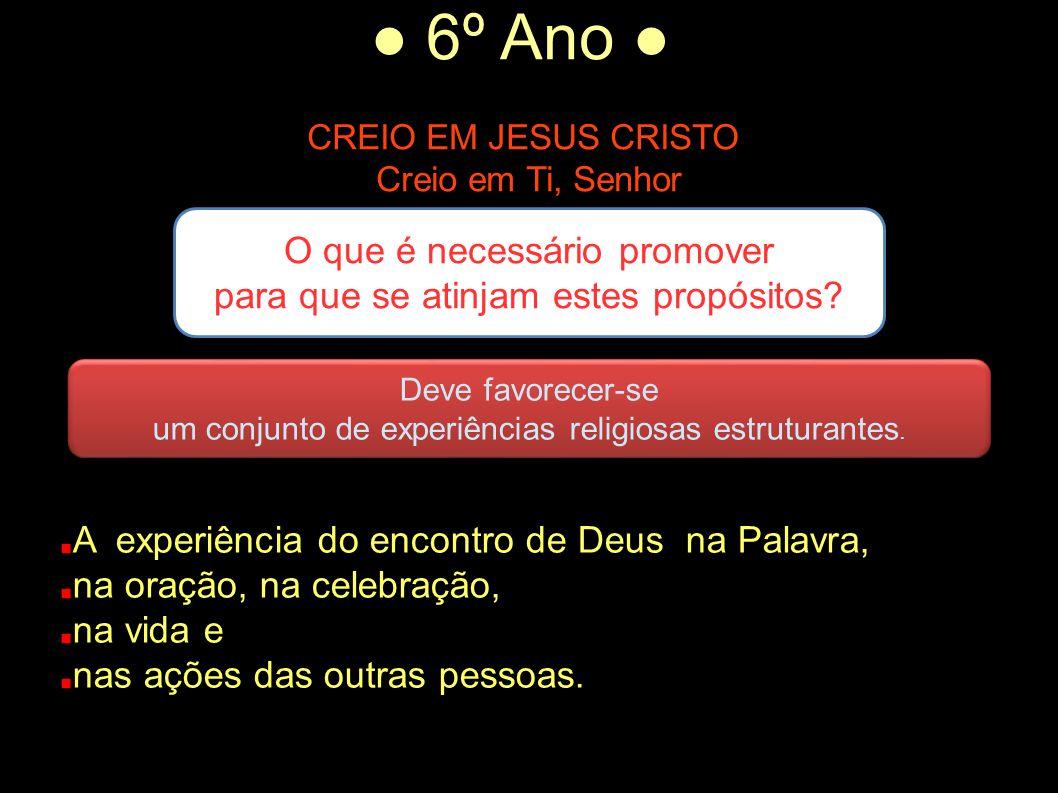 ● 6º Ano ● CREIO EM JESUS CRISTO Creio em Ti, Senhor O que é necessário promover para que se atinjam estes propósitos.