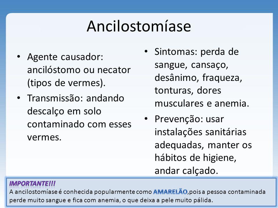 Ancilostomíase Agente causador: ancilóstomo ou necator (tipos de vermes). Transmissão: andando descalço em solo contaminado com esses vermes. Sintomas