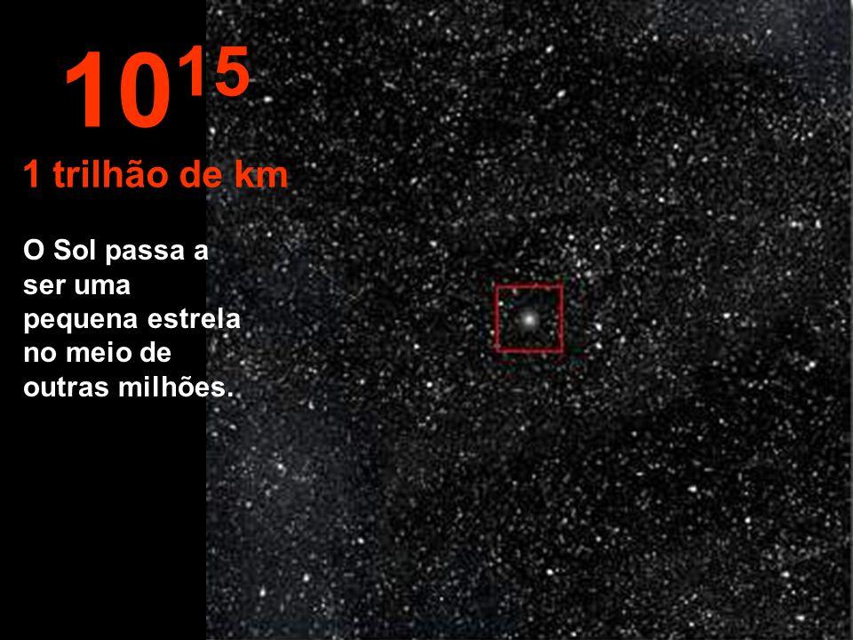 10 14 100 bilhões de km O Sistema Solar começa a desaparecer em meio ao universo.