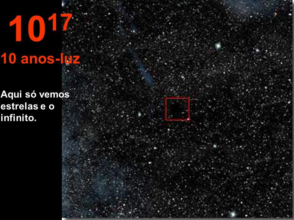 """Aqui acima avistamos outra grandeza o """"ano- luz"""". A """"estrela Sol"""" aparece muito pequena. 10 16 1 ano-luz"""
