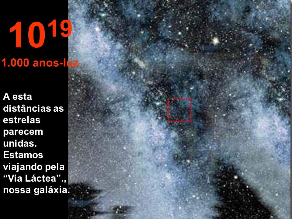 """Nada"" só estrelas e nebulosas. 10 18 100 anos-luz"