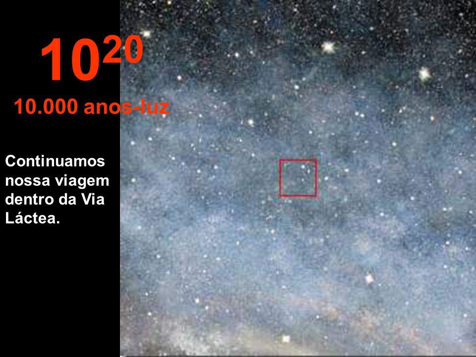 """10 19 1.000 anos-luz A esta distâncias as estrelas parecem unidas. Estamos viajando pela """"Via Láctea""""., nossa galáxia."""