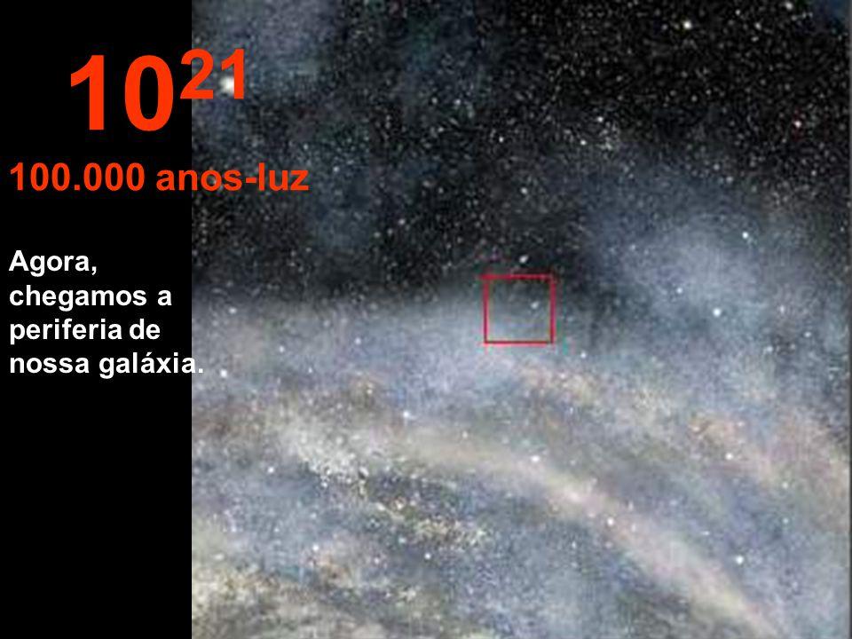 Continuamos nossa viagem dentro da Via Láctea. 10 20 10.000 anos-luz