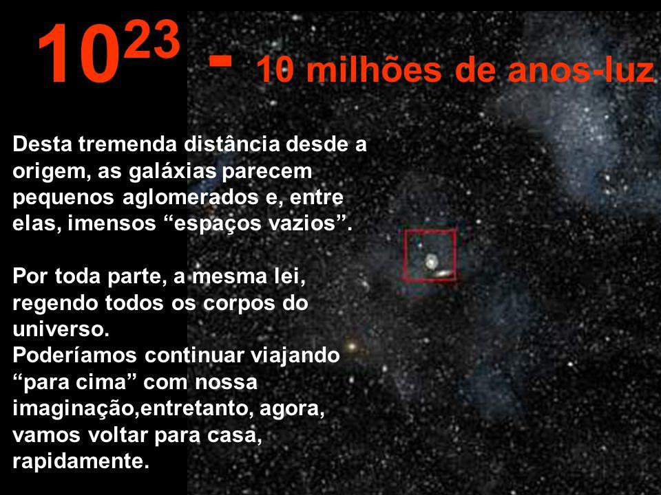 Desta imensa distância podemos ver toda a Via- Láctea e também outras galáxias. 10 22 1 milhão de anos-luz