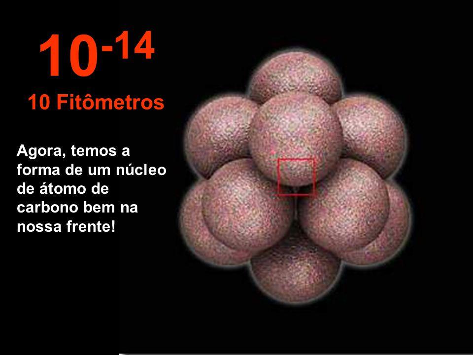"""Neste incrível e minúsculo tamanho começamos a """"observar"""" o núcleo do átomo, dessa forma, tão pequeno. 10 -13 100 Fitômetros"""