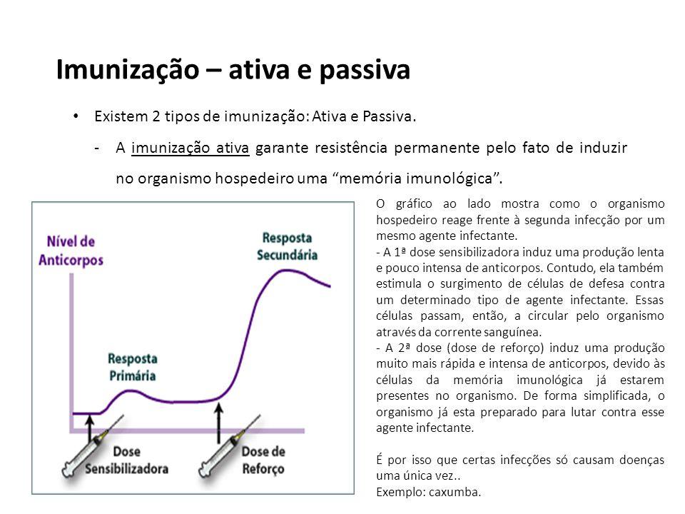Imunização – ativa e passiva Existem 2 tipos de imunização: Ativa e Passiva. -A imunização ativa garante resistência permanente pelo fato de induzir n
