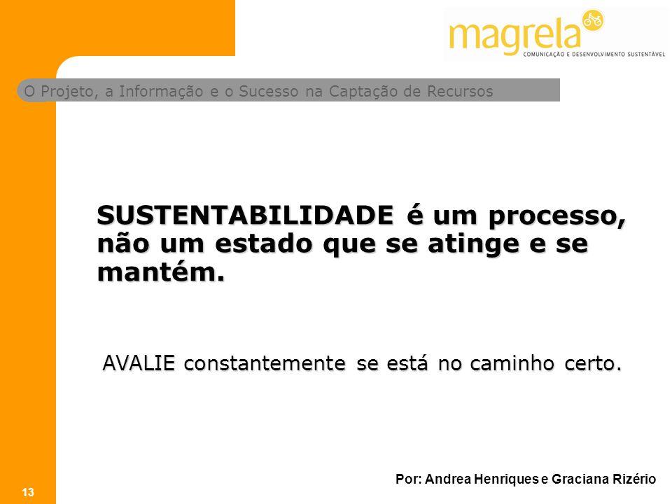 O Projeto, a Informação e o Sucesso na Captação de Recursos Por: Andrea Henriques e Graciana Rizério 13 SUSTENTABILIDADE é um processo, não um estado que se atinge e se mantém.