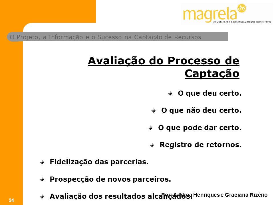 O Projeto, a Informação e o Sucesso na Captação de Recursos Por: Andrea Henriques e Graciana Rizério 24 Avaliação do Processo de Captação O que deu certo.