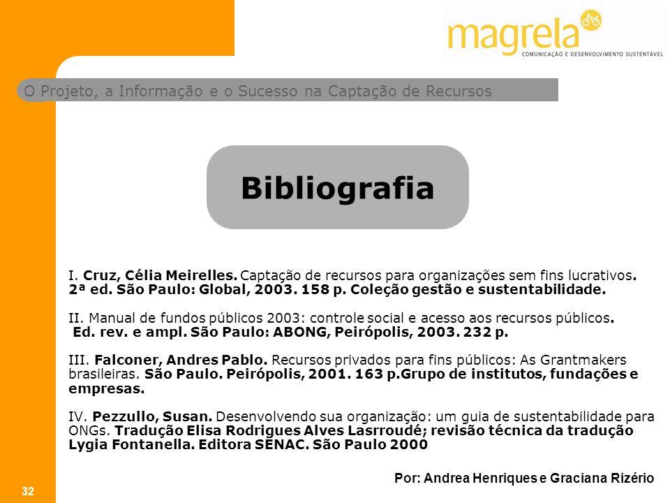 O Projeto, a Informação e o Sucesso na Captação de Recursos Por: Andrea Henriques e Graciana Rizério 32 I.