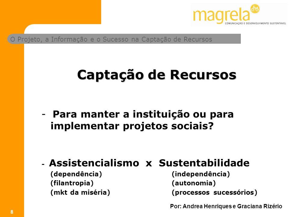 O Projeto, a Informação e o Sucesso na Captação de Recursos Por: Andrea Henriques e Graciana Rizério 8 Captação de Recursos - Para manter a instituição ou para implementar projetos sociais.