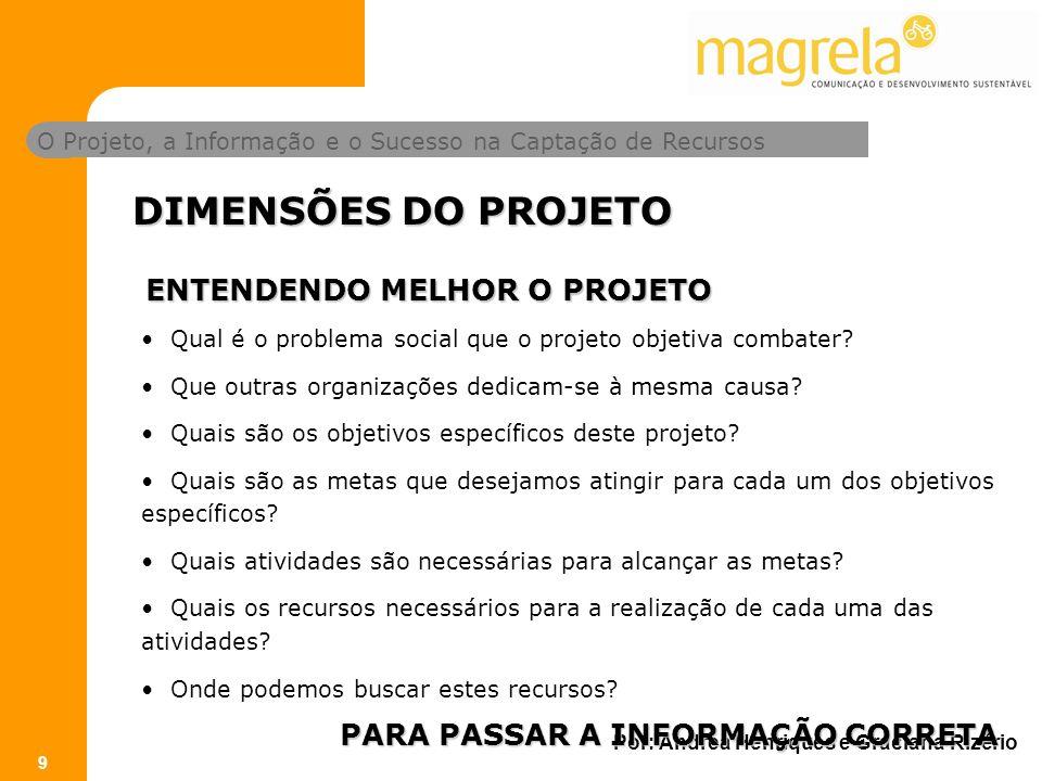 O Projeto, a Informação e o Sucesso na Captação de Recursos Por: Andrea Henriques e Graciana Rizério 9 Qual é o problema social que o projeto objetiva combater.
