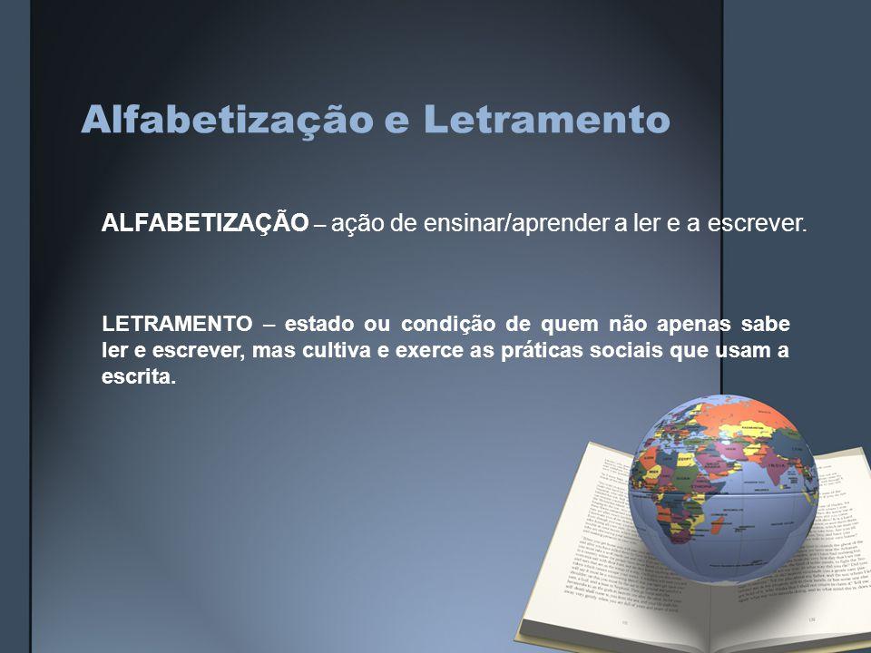 Alfabetização e Letramento ALFABETIZAÇÃO – ação de ensinar/aprender a ler e a escrever.