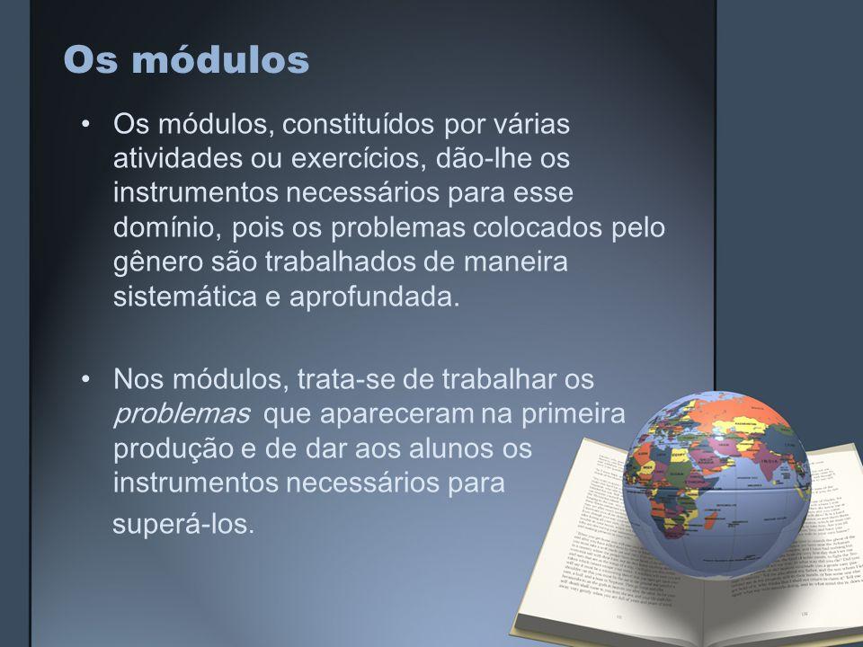 Os módulos Os módulos, constituídos por várias atividades ou exercícios, dão-lhe os instrumentos necessários para esse domínio, pois os problemas colocados pelo gênero são trabalhados de maneira sistemática e aprofundada.