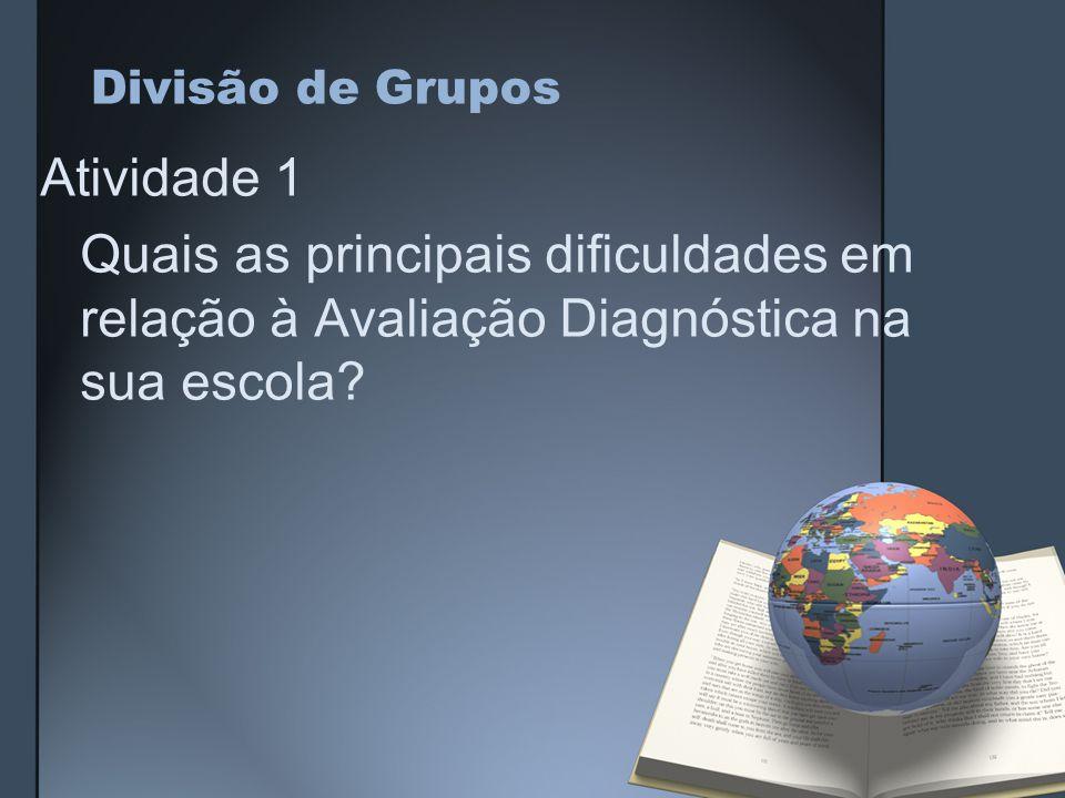 Divisão de Grupos Atividade 1 Quais as principais dificuldades em relação à Avaliação Diagnóstica na sua escola?