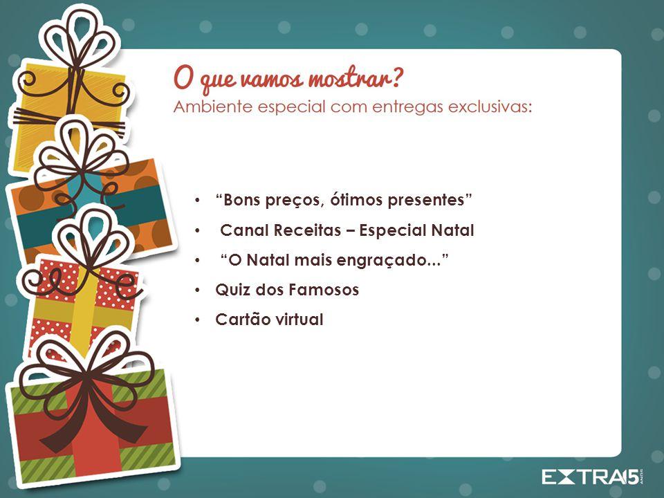 """""""Bons preços, ótimos presentes"""" Canal Receitas – Especial Natal """"O Natal mais engraçado..."""" Quiz dos Famosos Cartão virtual"""