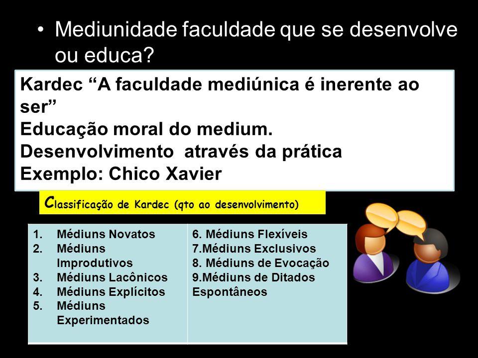 O médium A medium Kardec utiliza-se do termo medium que era utilizada antes do advento do Espiritismo