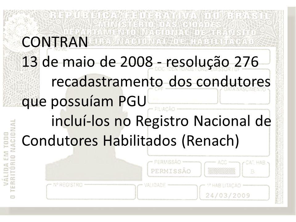 CONTRAN 13 de maio de 2008 - resolução 276 recadastramento dos condutores que possuíam PGU incluí-los no Registro Nacional de Condutores Habilitados (Renach)