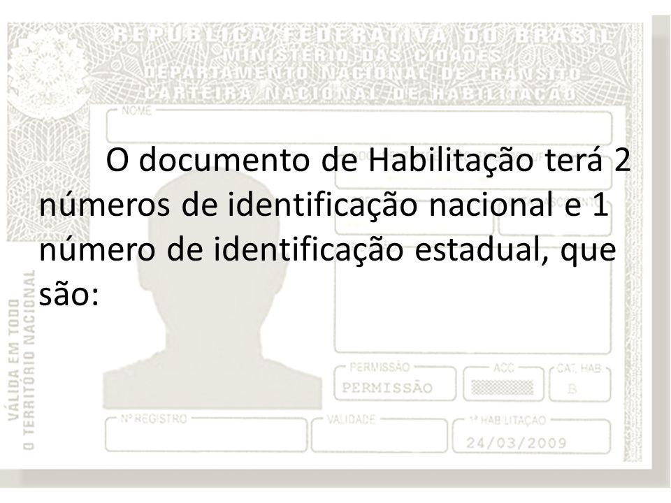 O documento de Habilitação terá 2 números de identificação nacional e 1 número de identificação estadual, que são: