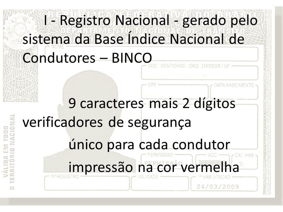 I - Registro Nacional - gerado pelo sistema da Base Índice Nacional de Condutores – BINCO 9 caracteres mais 2 dígitos verificadores de segurança único para cada condutor impressão na cor vermelha