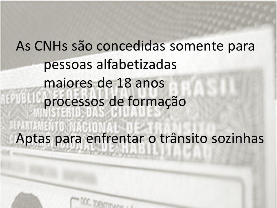As CNHs são concedidas somente para pessoas alfabetizadas maiores de 18 anos processos de formação Aptas para enfrentar o trânsito sozinhas
