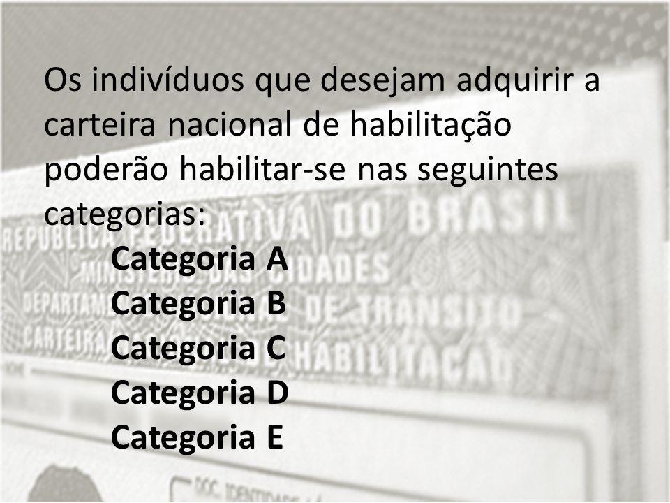 Os indivíduos que desejam adquirir a carteira nacional de habilitação poderão habilitar-se nas seguintes categorias: Categoria A Categoria B Categoria C Categoria D Categoria E