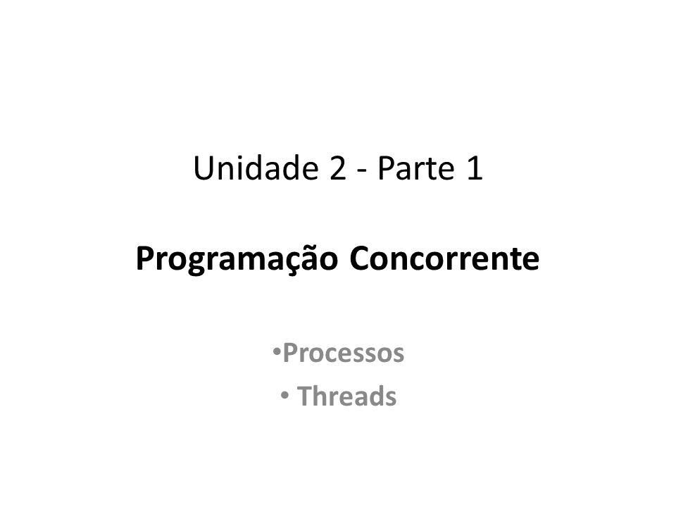 Unidade 2 - Parte 1 Programação Concorrente Processos Threads