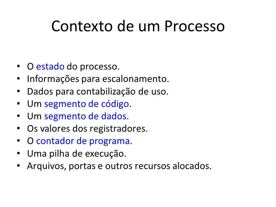 Contexto de um Processo O estado do processo.Informações para escalonamento.