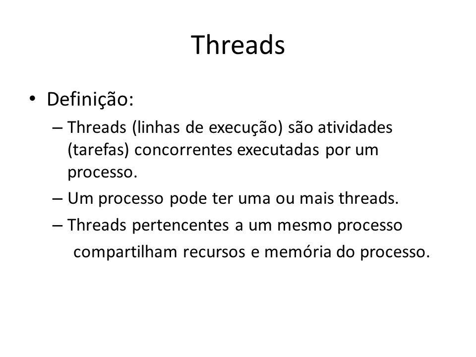 Threads Definição: – Threads (linhas de execução) são atividades (tarefas) concorrentes executadas por um processo.
