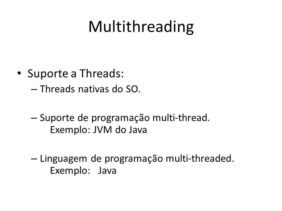 Multithreading Suporte a Threads: – Threads nativas do SO.