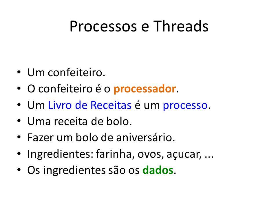 Processos e Threads Um confeiteiro.O confeiteiro é o processador.