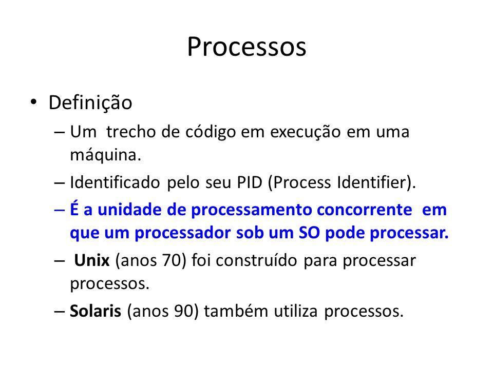 Processos Definição – Um trecho de código em execução em uma máquina.