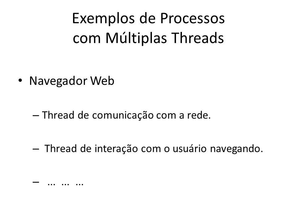Exemplos de Processos com Múltiplas Threads Navegador Web – Thread de comunicação com a rede.