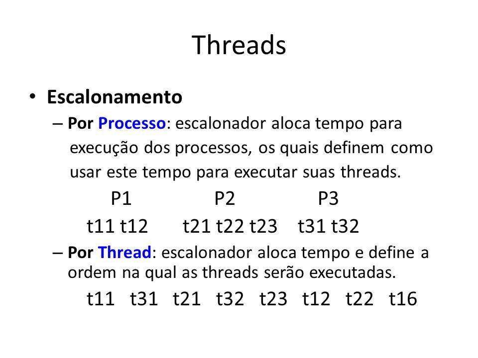 Threads Escalonamento – Por Processo: escalonador aloca tempo para execução dos processos, os quais definem como usar este tempo para executar suas threads.