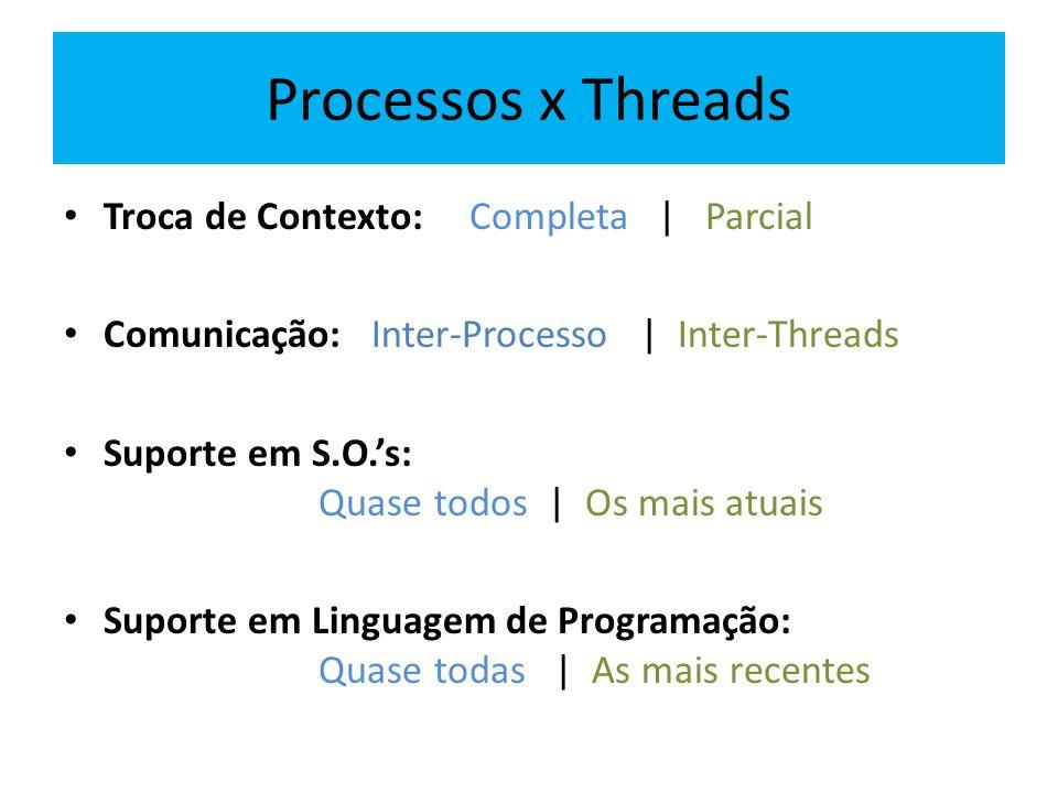 Processos x Threads Troca de Contexto: Completa | Parcial Comunicação: Inter-Processo | Inter-Threads Suporte em S.O.'s: Quase todos | Os mais atuais Suporte em Linguagem de Programação: Quase todas | As mais recentes