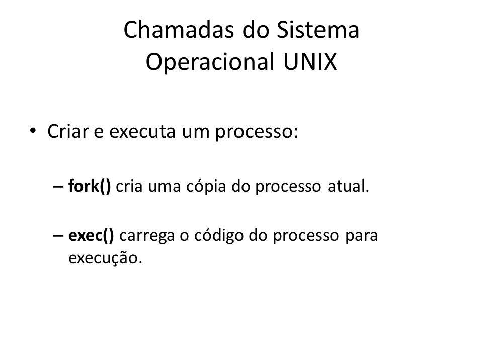 Chamadas do Sistema Operacional UNIX Criar e executa um processo: – fork() cria uma cópia do processo atual.