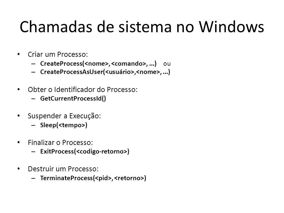 Chamadas de sistema no Windows Criar um Processo: – CreateProcess(,,...) ou – CreateProcessAsUser(,,...) Obter o Identificador do Processo: – GetCurrentProcessId() Suspender a Execução: – Sleep( ) Finalizar o Processo: – ExitProcess( ) Destruir um Processo: – TerminateProcess(, )