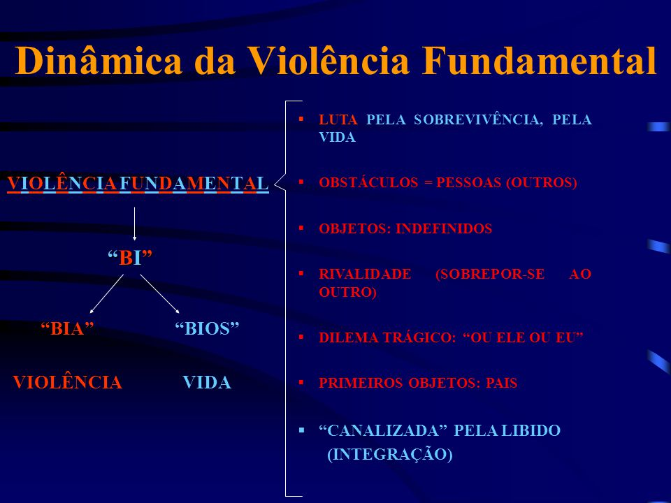 """Dinâmica da Violência Fundamental VIOLÊNCIA FUNDAMENTAL """"BI""""""""BI""""""""BI""""""""BI"""" """"BIA"""" VIOLÊNCIA """"BIOS"""" VIDA  LUTA PELA SOBREVIVÊNCIA, PELA VIDA  OBSTÁCULOS"""