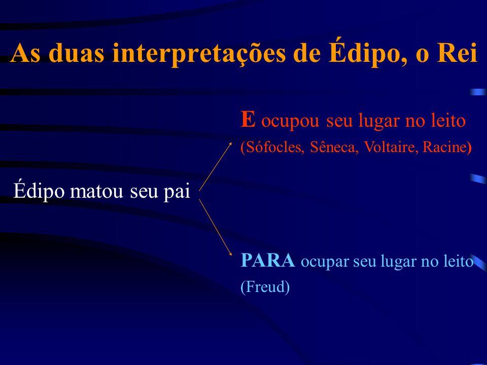 As duas interpretações de Édipo, o Rei Édipo matou seu pai E ocupou seu lugar no leito (Sófocles, Sêneca, Voltaire, Racine) PARA ocupar seu lugar no l