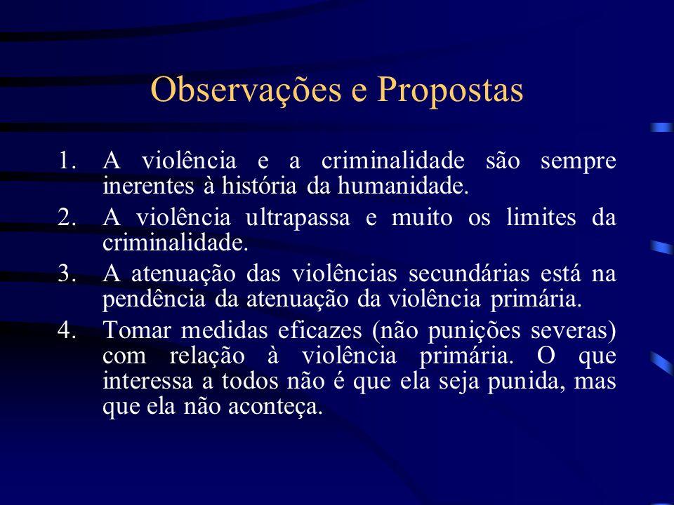 Observações e Propostas 1.A violência e a criminalidade são sempre inerentes à história da humanidade. 2.A violência ultrapassa e muito os limites da