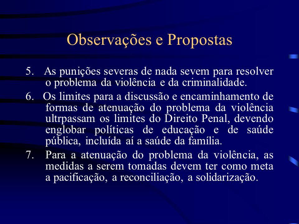 Observações e Propostas 5. As punições severas de nada sevem para resolver o problema da violência e da criminalidade. 6. Os limites para a discussão