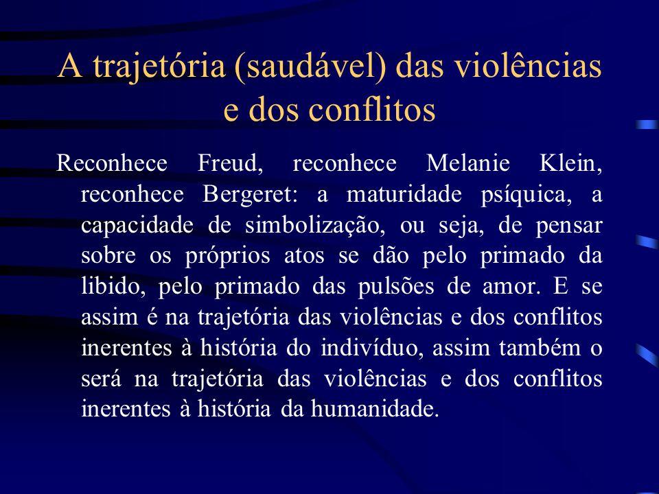 A trajetória (saudável) das violências e dos conflitos Reconhece Freud, reconhece Melanie Klein, reconhece Bergeret: a maturidade psíquica, a capacida