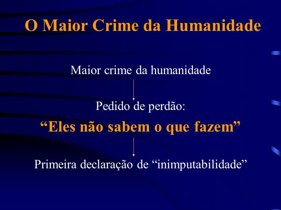 """O Maior Crime da Humanidade Maior crime da humanidade Pedido de perdão: """"Eles não sabem o que fazem"""" Primeira declaração de """"inimputabilidade"""""""