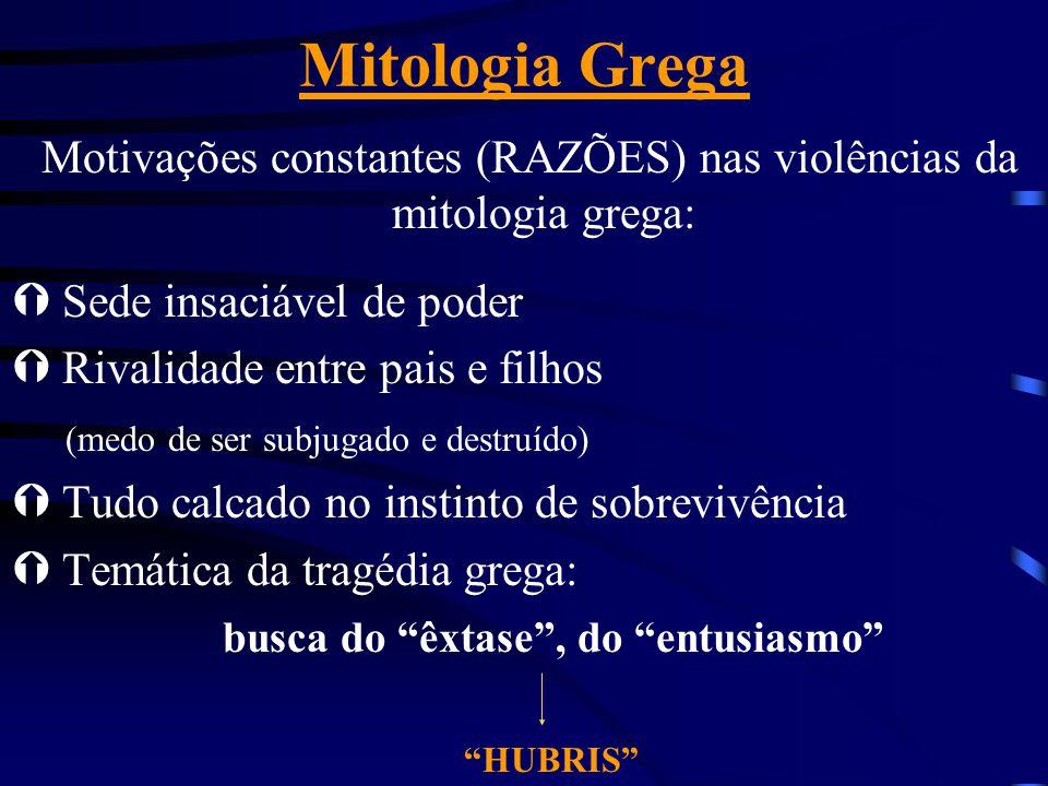 Mitologia Grega Motivações constantes (RAZÕES) nas violências da mitologia grega: Ý Sede insaciável de poder Ý Rivalidade entre pais e filhos (medo de