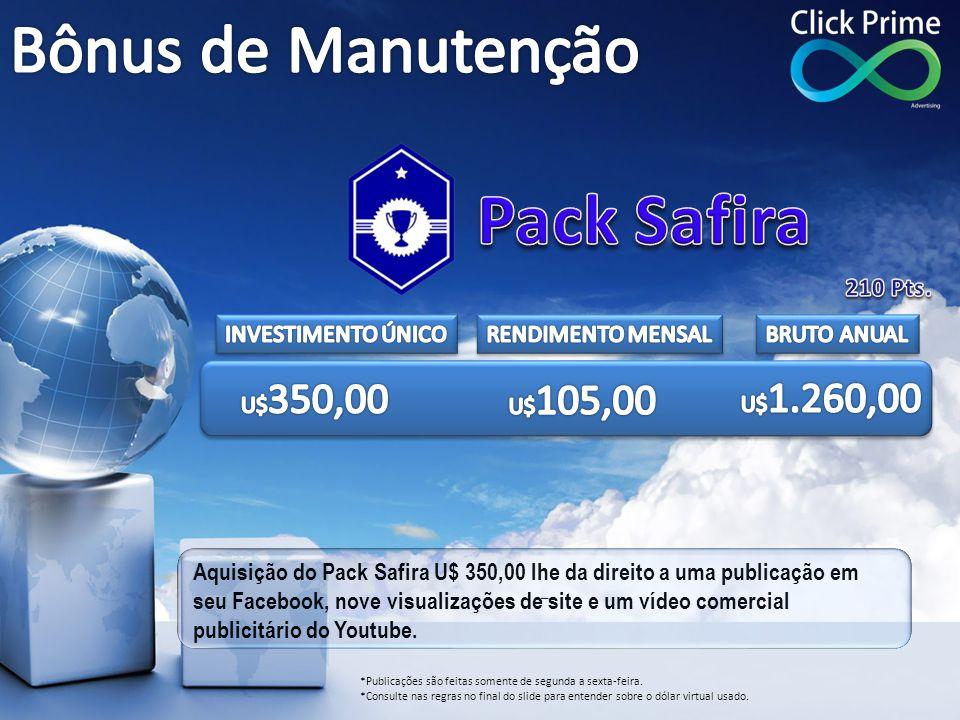Aquisição do Pack Safira U$ 350,00 lhe da direito a uma publicação em seu Facebook, nove visualizações de site e um vídeo comercial publicitário do Yo