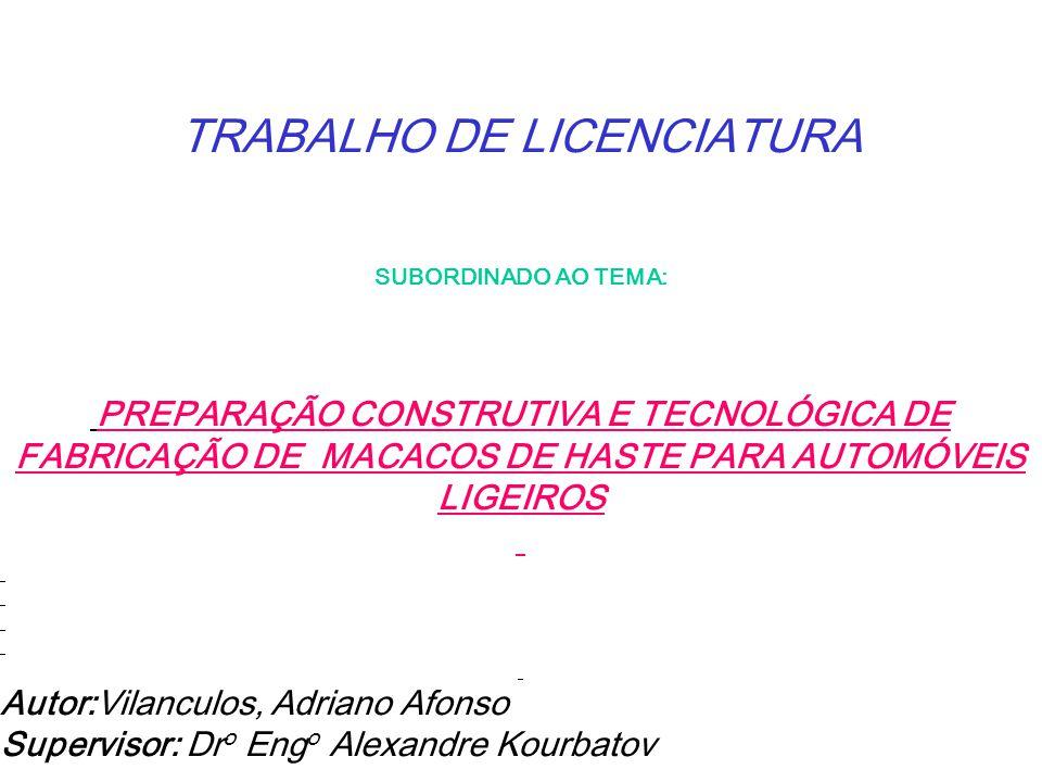 TRABALHO DE LICENCIATURA SUBORDINADO AO TEMA: PREPARAÇÃO CONSTRUTIVA E TECNOLÓGICA DE FABRICAÇÃO DE MACACOS DE HASTE PARA AUTOMÓVEIS LIGEIROS Autor:Vi
